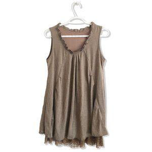 Sleeveless Ruffle Mini Dress Tunic Top
